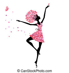 ballerine, girl, fleur