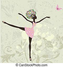 ballerine, girl, fleurs, grunge, fond