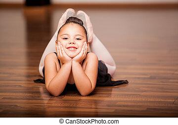 ballerine, heureux, classe, pendant
