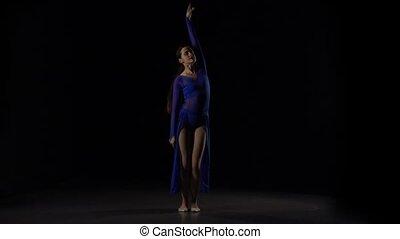ballerine, lent, ballet., danse, moderne, mouvement