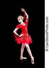 ballerine, porter, rouges, tutu, poser, sur, isolé, noir