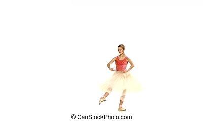 ballerine, rotation, blanc, jeune, fond