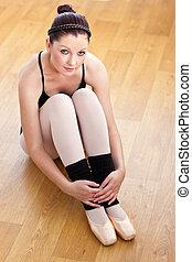 ballerine, séance, plancher