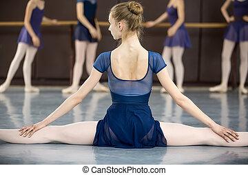 ballerine, sien, séance, plancher, dos, appareil photo