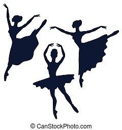 ballerine, silhouette, set, sfondo bianco