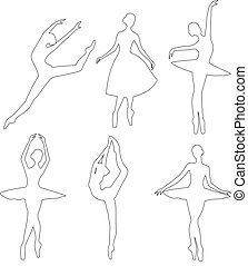 ballerine, vettore, set, contorno