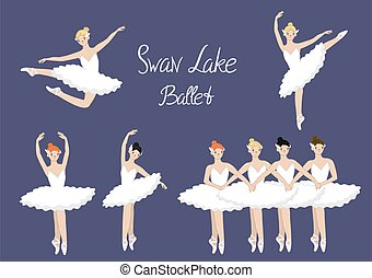 ballerines, graphics., ballet, lac, ensemble, vecteur, cygne