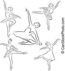 ballerines, ligne, collection, dessin