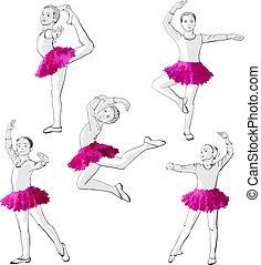 ballerines, petites filles, enfants, danse