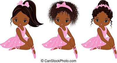 ballerines, peu, mignon, américain, vecteur, divers, africaine, coiffures