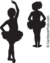 ballerines, silhouette, heureux