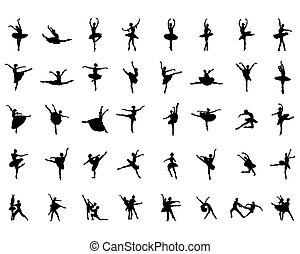 ballerines, silhouettes, noir