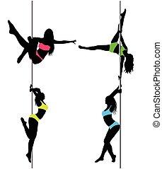 ballerini, silhouettes.the, illustrazione, quattro, polo, vettore, sexy