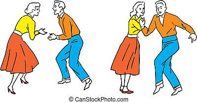 ballerini, vettore, illustrazione, 50s