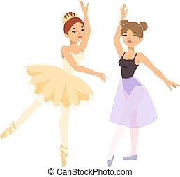 ballerino, ballerina, ragazza, vettore