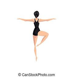 ballerino balletto, beautifull, professionale, ballerina, ballo, vettore, illustrazione, su, uno, sfondo bianco
