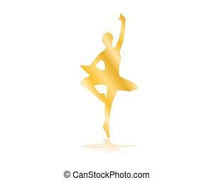 ballerino balletto, illustrazione, oro