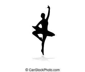 ballerino balletto, nero, illustrazione