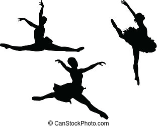ballerino, balletto, set, tre, silhouet