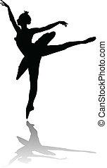 ballerino, balletto, silhouette