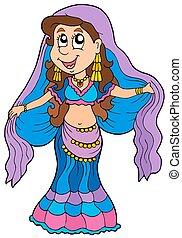 ballerino, cartone animato, pancia
