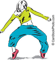 ballerino, hip-hop, illustrazione, ballo