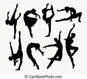 ballerino, maschio femmina, silhouette