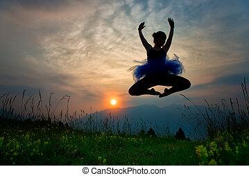 ballerino ragazza, tramonto, natura