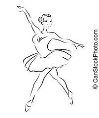ballerino, schizzo, vettore, balletto, contorno