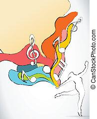 ballerino, silhouette, con, colorito, onde, e, note musica