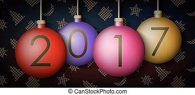 balles, éléments, fond, année, nouveau, noël