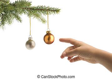 balles, arbre, noël, main