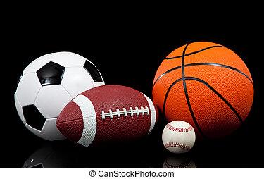 balles, arrière-plan noir, sports