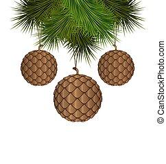 balles, branches, cônes, pin, pendre, noël, aimer
