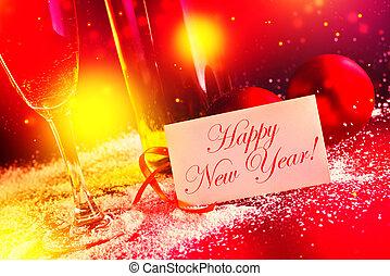 balles, card., decoration., veille, année, vin, année, nouveau, blanc, noël heureux, salutation