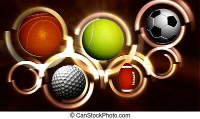 balles, cinq, sports