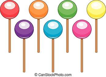 balles, coloré, bonbon, vecteur, collection, sucette