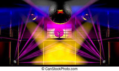 balles, coloré, club, disco allume, nuit