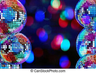 balles, coloré, disco, fond foncé, miroir