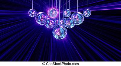 balles, coloré, disco, froussard, fond, miroir