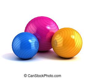 balles, coloré, fitness