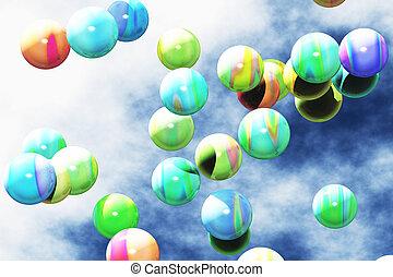 balles, coloré, flotter, air