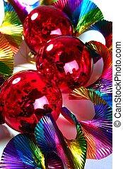 balles, coloré, fond, brillant, noël, rouges