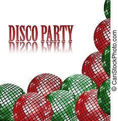 balles, disco, arrière-plan vert, fête, rouges