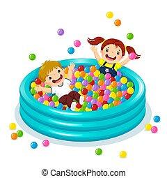 balles, enfants, balle, coloré, piscine, jouer