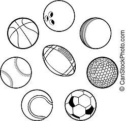 balles, ensemble, sports