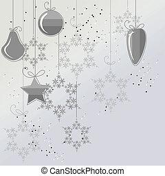 balles, flocons neige, lumière, contour, fond, noël