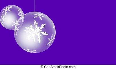 balles, fond, pourpre, closeup, mouvement, flocons neige, blanc, animé