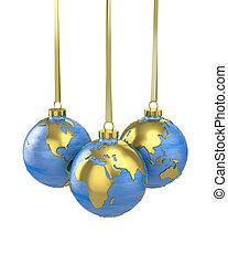 balles, formé, globe, trois, noël, planète, ou