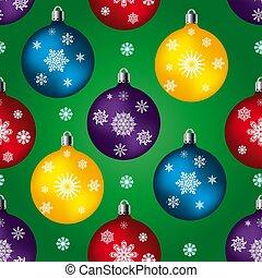balles, fur-tree, flocons neige, seamless, modèle, arrière-plan vert, jouets, celebratory